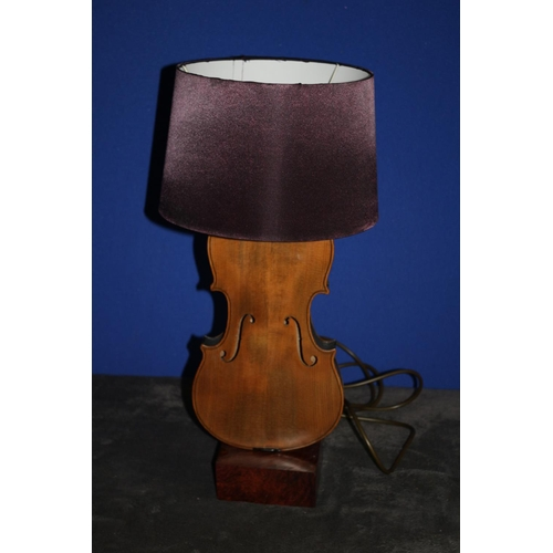 43 - Vintage Violin Table Lamp Mounted on Wooden Plinth, Fully Working and PAT Tested