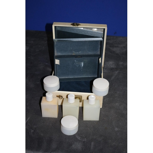 47 - Vintage Poly-Tainer Shipton Mirrored Carry Case with Various Plastic Bottles and Cream Containers