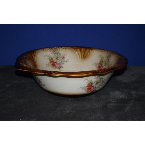 49 - Vintage Ironstone Floral Decorated Wash Bowl