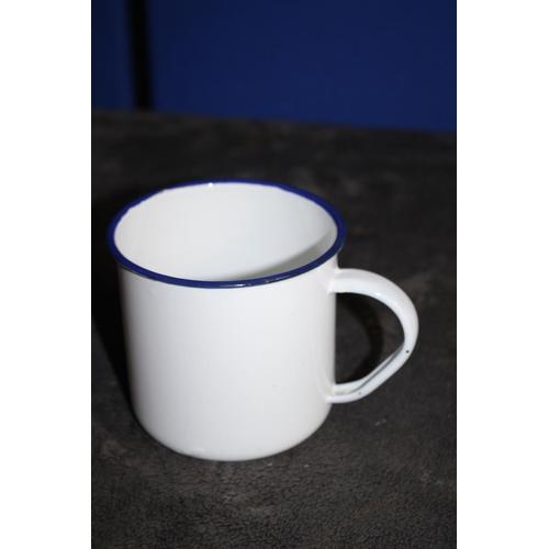 51 - Large Old Hole Punch with 2 Vintage Enamelled Mugs