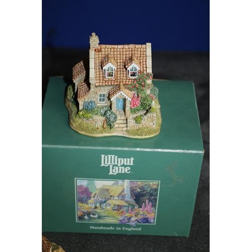60 - Collection of 3 Lilliput Lane Miniature Cottage and Statue