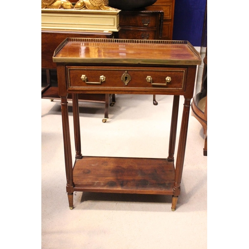 1 - A FRENCH DIRECTOIRE STYLE CABINET, a pierced brass 3/4 gallery rim, with single frieze drawer, havin...