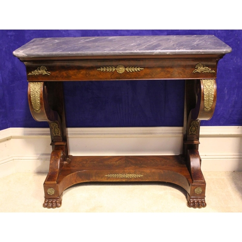 14 - A VERY FINE WILLIAM IV MAHOGANY MARBLE TOPPED CONSOLE TABLE / HALL TABLE, with a long frieze drawer,...