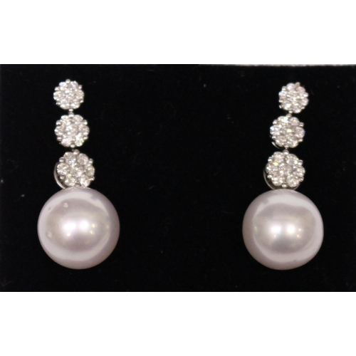 17 - A PAIR OF 18CT WHITE GOLD, SOUTH SEA PEARL & DIAMOND EARRINGS, 2.15cts....