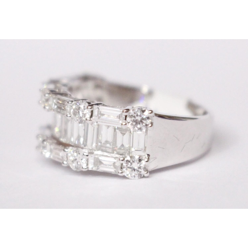 18 - AN 18CT WHITE GOLD BAGUETTE & BRILLIANT CUT DIAMOND BAND, 3.00cts....