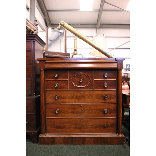 22 - A LATE 19TH CENTURY TALL CHEST OF DRAWERS, with a long frieze drawer over 2 hat and 2 small drawers,...