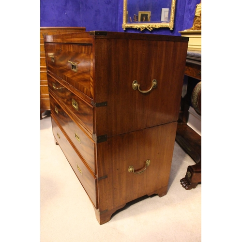 28 - A REGENCY 'CAMPAIGN' BRASS BOUND CHEST SECRETAIRE, Mahogany, with crossbanded front detail to the dr...