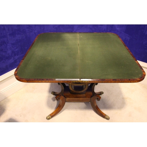 3 - A VERY FINE REGENCY ROSEWOOD CROSS-BANDED FOLD OVER CARD TABLE, with brass inlaid detailing, raised ...