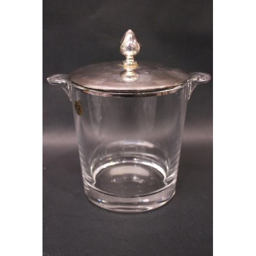 33 - A KINSALE CRYSTAL BISCUIT BARRELL with lid, in excellent condition, with an Italian glass ice bucket...