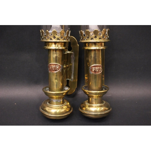 35 - A PAIR OF 'GWR' BRASS CANDLE WALL LANTERNS, with clear glass chimneys, 16.5