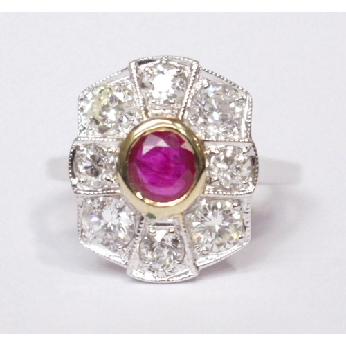 4 - AN 18CT WHITE GOLD BURMESE RUBY & DIAMOND CLUSTER RING, Burmese Ruby .65cts. and diamond 1.78cts....