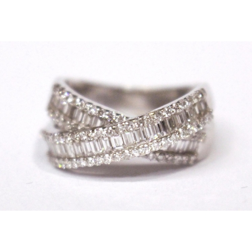40 - AN 18CT WHITE GOLD BAGUETTE & BRILLIANT CUT DIAMOND CROSS OVER BAND, 2.00cts....