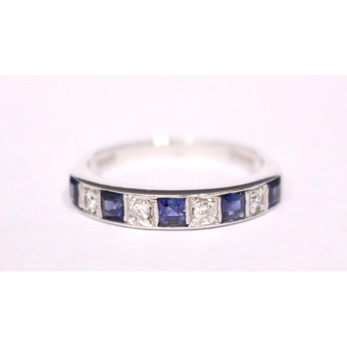 41 - AN 18CT WHITE GOLD SAPPHIRE & DIAMOND RING, with alternating blue sapphire and diamonds...
