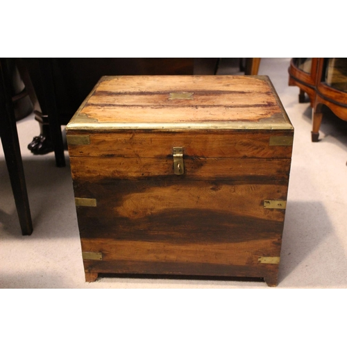 47 - A BRASS BOUND CELLARETTE BOX, with hinged lid, and short splayed feet, 18.5