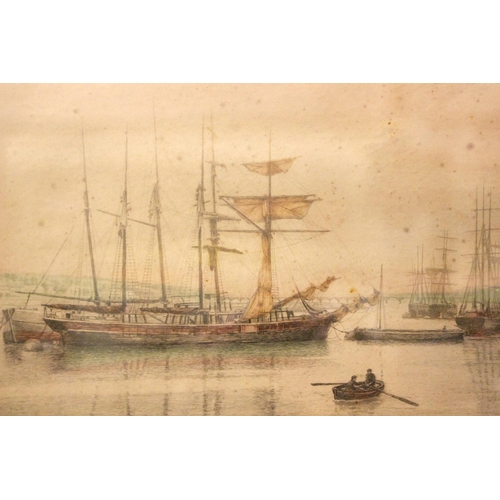 48 - HENRY G. WALKER, A PAIR OF PRINTS, (i) Ships in an Estuary, (ii) Anchored boats, both signed on the ...