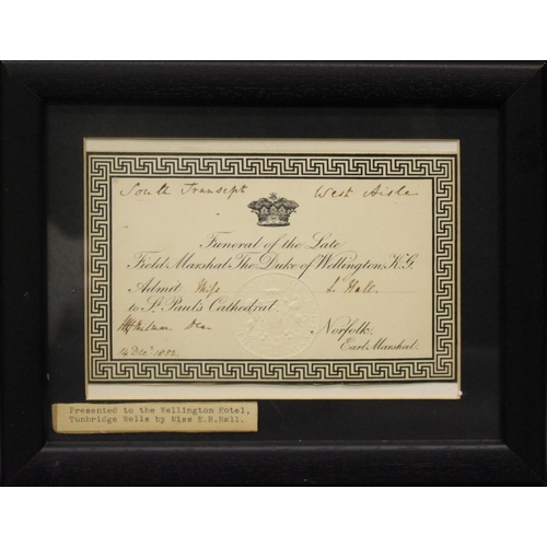 53 - A FRAMED INVITATION TO THE FUNERAL OF THE DUKE OF WELLINGTON FROM EARL MARSHAL OF NORFOLK, with blin...