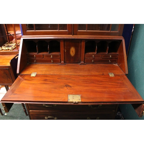 55 - A VERY FINE EDWARDIAN MAHOGANY & INLAID BUREAU BOOKCASE, with astragal glazed two door cabinet, over...
