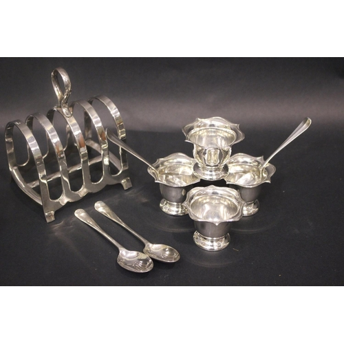 57 - A SILVER BREAKFAST SET, includes; (4) Egg Cups, Birmingham, with date letter 'k' for 1909, maker's m...