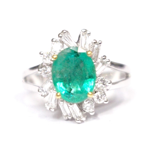 6 - AN 18CT WHITE GOLD COLOMBIAN EMERALD & DIAMOND CLUSTER RING,  Emerald 1.77 cts., diamond .85 cts....