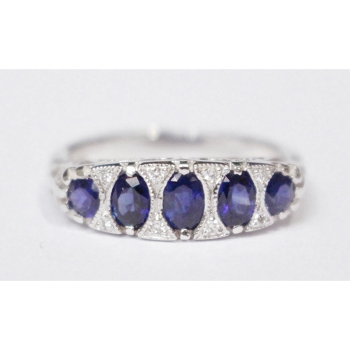 7 - AN 18CT SAPPHIRE & DIAMOND 5 STONE 'GYPSY' RING...