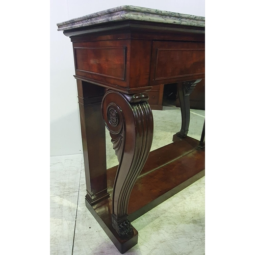 53 - A VERY FINE 19TH CENTURY MARBLE TOPPED MAHOGANY CONSOLE / HALL TABLE, the marble top sits upon a dee...