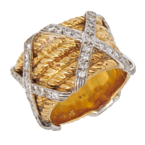 12 - <strong>A DIAMOND AND TWO COLOUR GOLD BAND BY KUTCHINSKY</strong>mark of Kutchinsky Ltd, London 197...