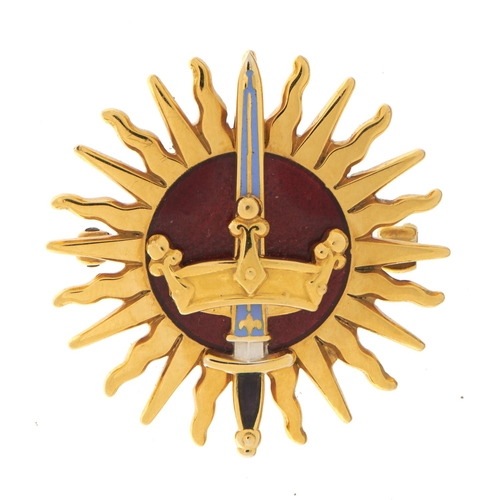 17 - <strong>A GOLD AND WHITE AND RED GUILLOCHE ENAMEL LADY'S BROOCH OF THE IMPERIAL SOCIETY OF KNIGHTS B...