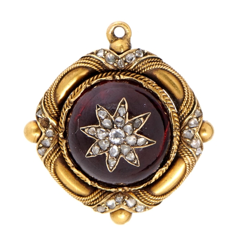 18 - <strong>A VICTORIAN DIAMOND, FOILED GARNET AND GOLD BROOCH</strong> 2cm diam, adapted from another...