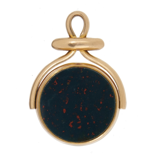 37 - <strong>AN 18CT GOLD, BLOODSTONE AND CORNELIAN SWIVEL FOB-PENDANT</strong> 4cm, maker's mark rubbed,...