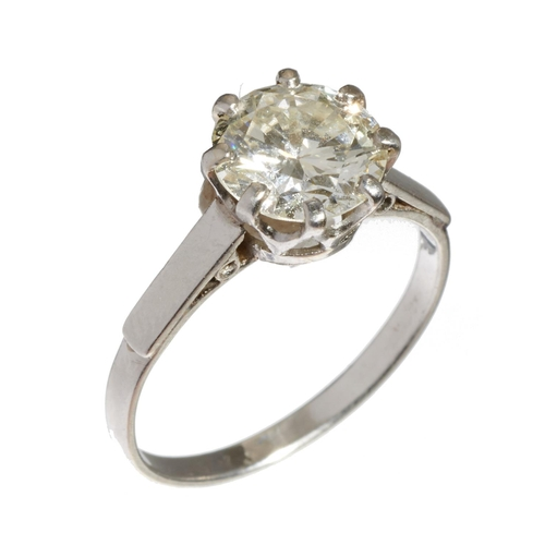 7 - <strong>A DIAMOND SOLITAIRE RING</strong>the old cut diamond of approx 1.65ct, K colour, SI1 clarit...