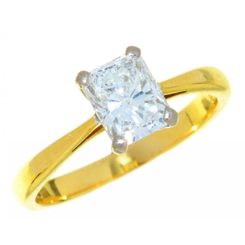 1 - <p>A DIAMOND SOLITAIRE RING the radiant cut diamond approx 1.02ct, E colour, VS2 clarity, in 18ct go...