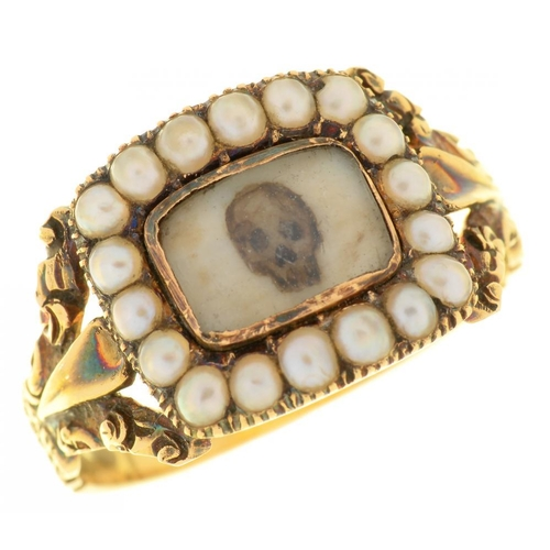13 - <p>AN ENGLISH GOLD MOURNING RING, 1831   the oblong tablet inset with a painted miniature of a human...