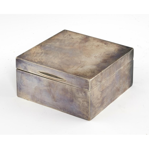 139 - <p>AN EDWARD VII SILVER CIGARETTE BOX  cedar lined, 11 x 11cm, by Hewson & Williams, London 1907</p>...
