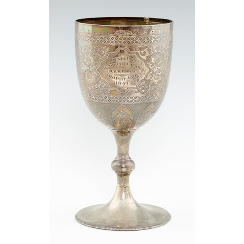 145 - <p>AN EDWARD VII SILVER CUP  engraved with strapwork and foliage, 17.5cm h, 19ozs</p><p></p>...