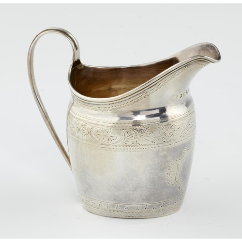 157 - <p>A GEORGE III OVAL ENGRAVED SILVER CREAM JUG  10cm h, by Solomon Hougham, London 1794, 3ozs 5dwts<...