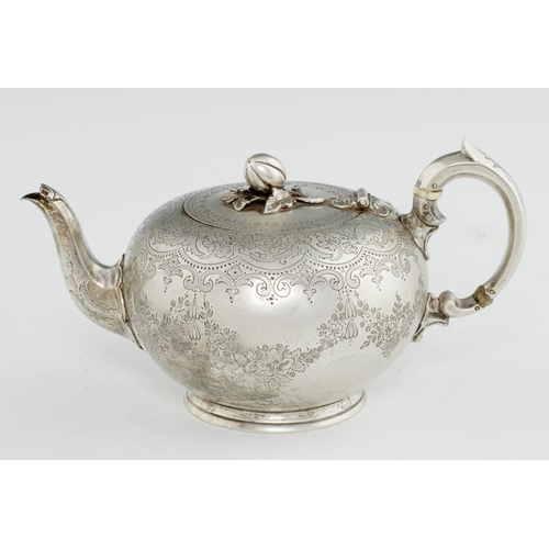 158 - <p>A VICTORIAN SILVER BULLET TEAPOT  with melon knop and engraved with festoons, 11.5cm h, by Stephe...