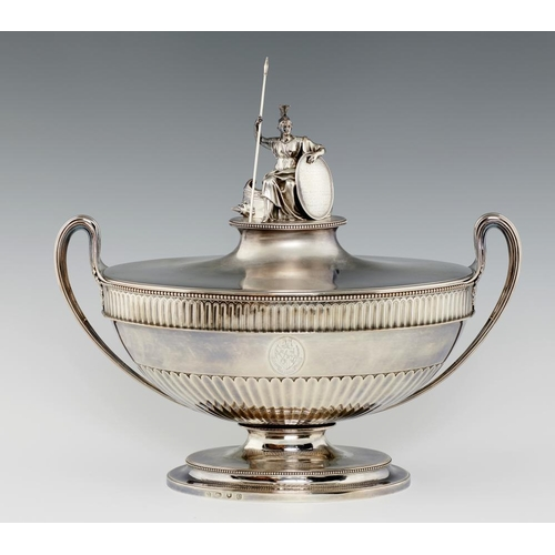 165 - <p>AMERICAN WAR OF INDEPENDENCE INTEREST. A GEORGE III SILVER TESTIMONIAL SOUP TUREEN AND COVER  the...