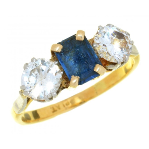 2 - <p>A SAPPHIRE AND DIAMOND RING the brilliant cut diamonds approx 1.5ct, J colour, SI1 clarity, the s...