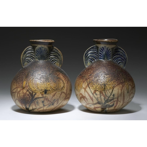 209 - <p>A PAIR OF MARTINWARE SACK SHAPED VASES, C1890  incised with tiger lilies, the mottled dark brown ...