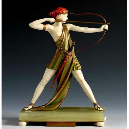 219 - <p>FERDINAND PREISS  (1882-1942) THE ARCHER, C1925 cold painted bronze and ivory on onyx plinth, mou...