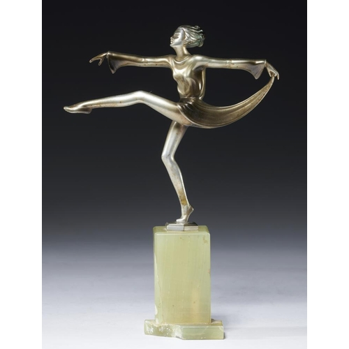 220 - <p>JOSEF LORENZL (1892-1950)  A DANCER, C1930   bronze and ivory on onyx plinth, 20.5cm h, base stam...