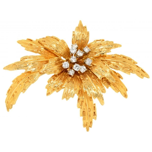 24 - <p>A VAN CLEEF & ARPELS DIAMOND LEAF BROOCH, C1967 in gold, 7cm, signed  VAN CLEEF & ARPELS MADE IN ...
