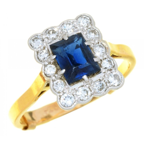 3 - <p>A SAPPHIRE AND DIAMOND RING the rectangular sapphire 1.2ct approx, brilliant cut diamonds 0.35ct ...