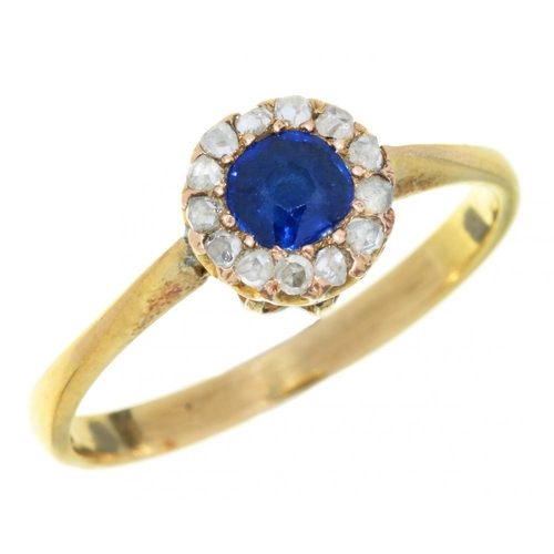 4 - <p>A CLOSED BACK SAPPHIRE AND ROSE CUT DIAMOND RING, LATE 19TH C adapted, on later 9ct gold hoop, Bi...