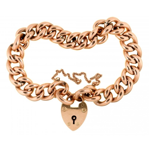 42 - <p>A GOLD CURB LINK BRACELET with 9ct gold heart clasp, 19.5g</p><p></p>...