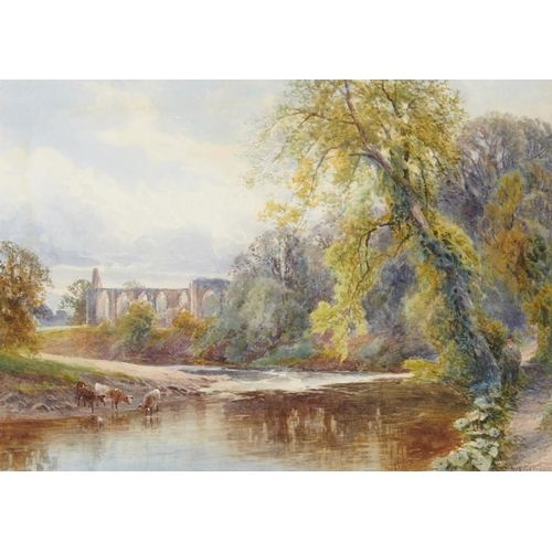 443 - <p>FRANK GRESLEY (1855-1936) BOLTON ABBEY signed and dated 1890, watercolour, 29 x 40.5cm</p><p></p>...