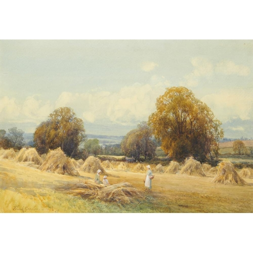 447 - <p>FRANK GRESLEY (1855-1936) HAYMAKING signed, watercolour, 26 x 38cm</p><p></p>...