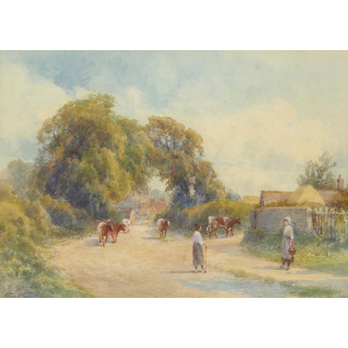 448 - <p>FRANK GRESLEY (1855-1936) MILKING TIME signed, watercolour, 27 x 38cm</p><p></p>...