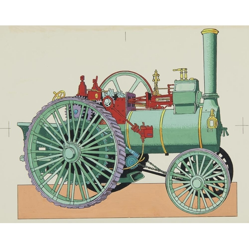 449 - <p>ENGLISH SCHOOL, C 1967 ILLUSTRATIONS OF VINTAGE VANS LORRIES INCLUDING A STEAM LORRY AND TRACTION...