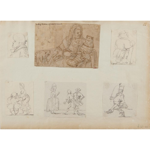452 - <p>ITALIAN SCHOOL, 17TH CENTURY A SICK CAT  pen and ink, with old ink attribution, 10 x 15cm, laid d...